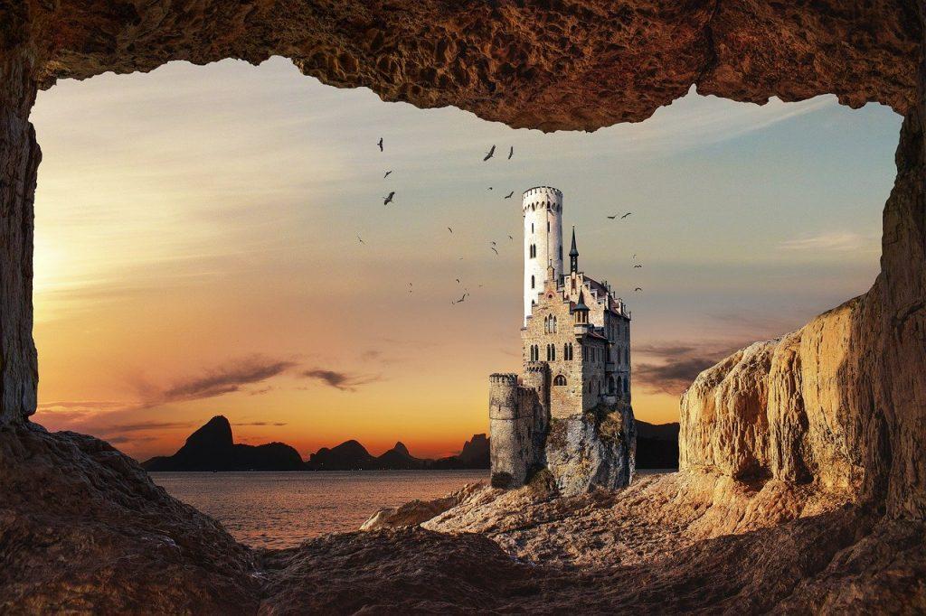 castle, cave, sea